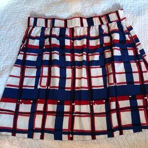 Talbots XL red white blue plaid elastic skirt
